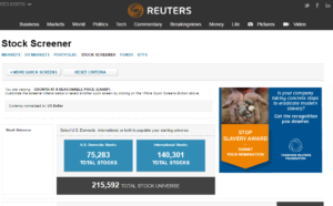 Reuters Stock Screen