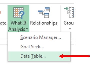 Data Table - Datentabelle - Excel