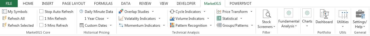 MarketXLS Excel Add-In