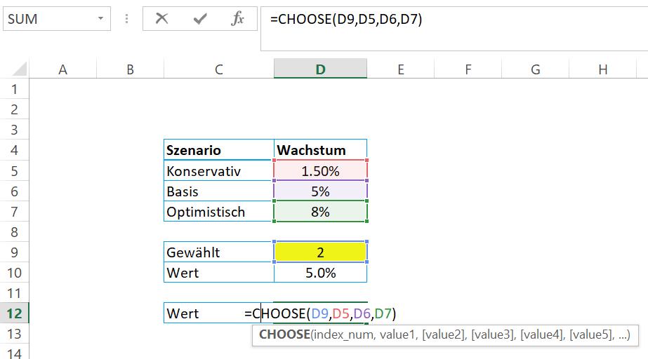 Excel Formeln - Choose bzw. Wahl
