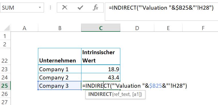 Indirekt Funktion - Excel Formeln