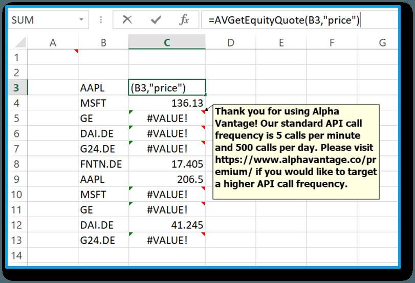 Echtzeitkurse in Excel - Alpha Vantage Add-in