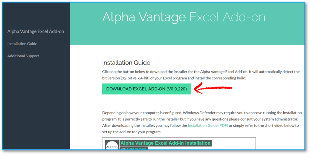 Alpha Vantage Excel Add-In