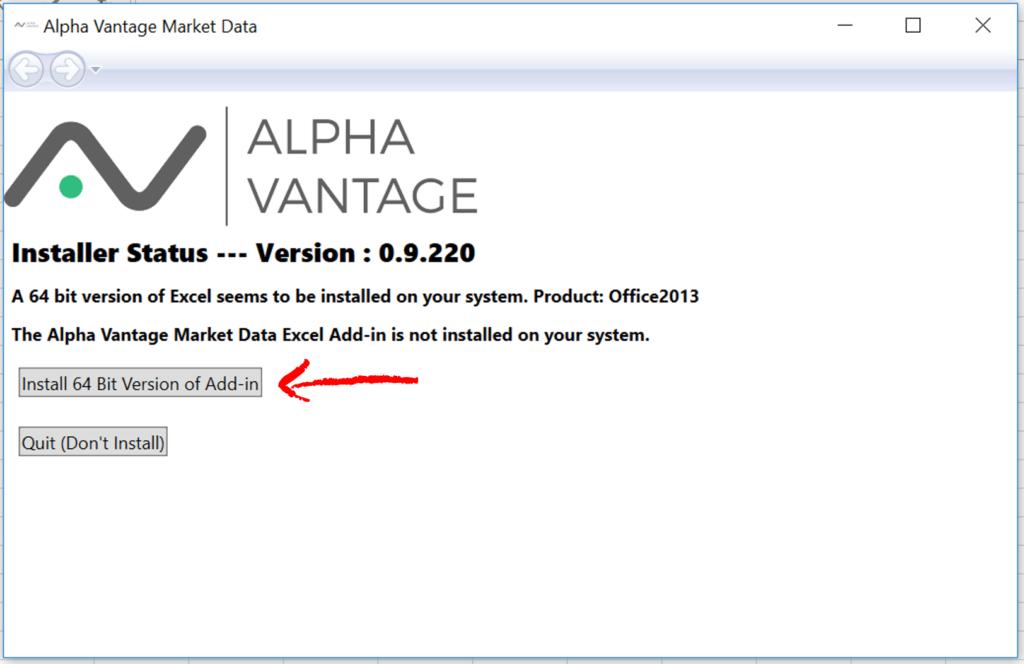 Alpha Vantage Add-In Installation