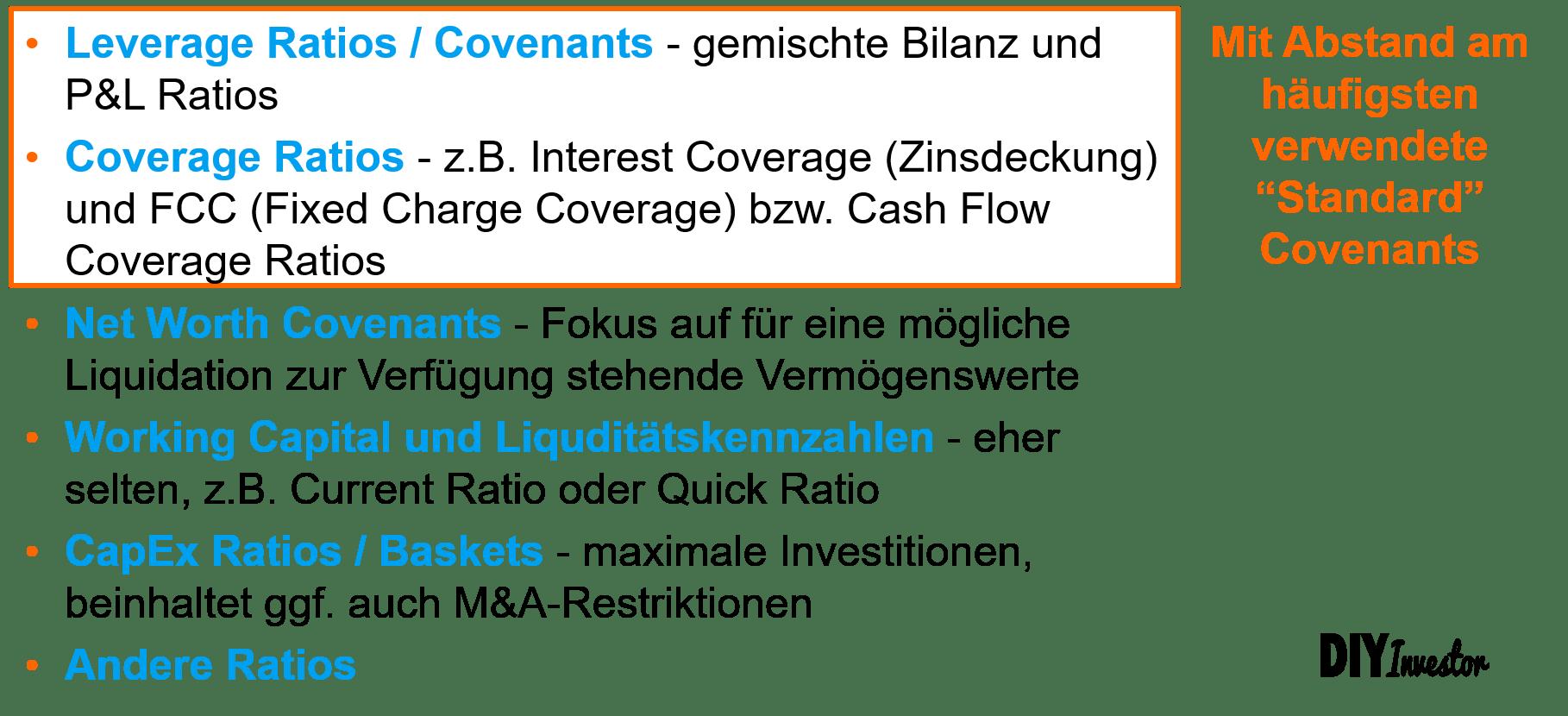 Übersicht wesentlicher Financial Covenants