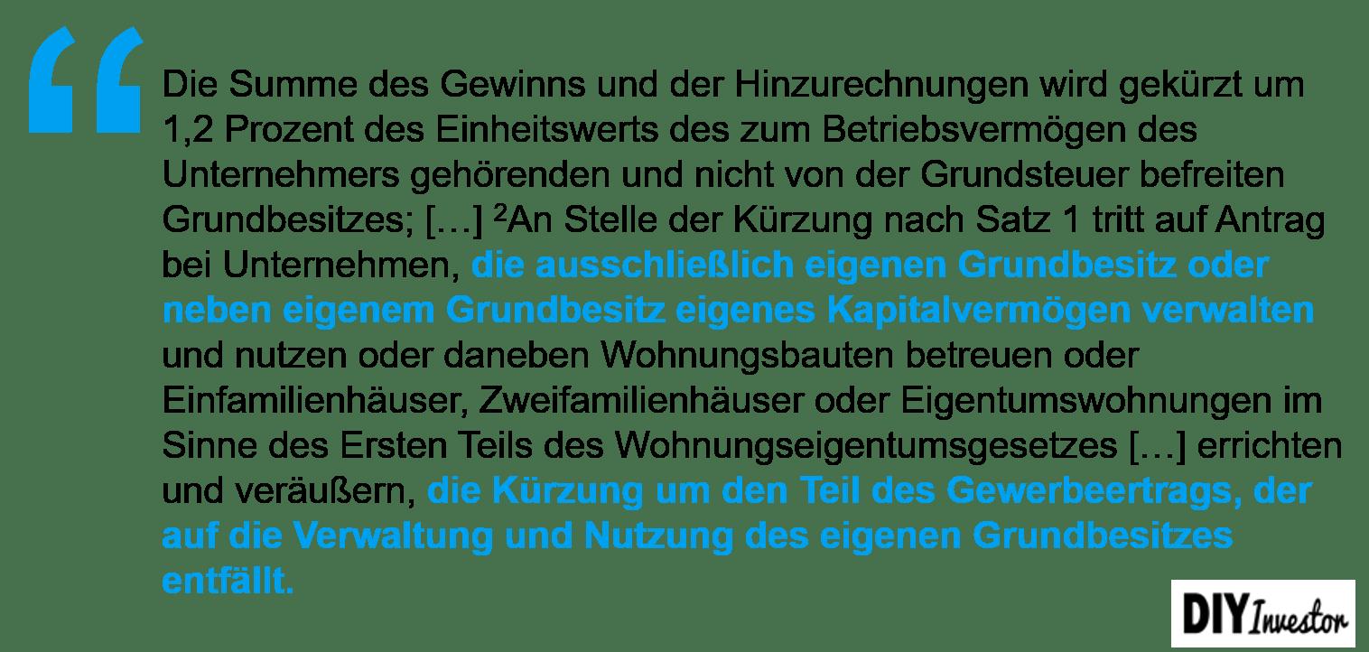 Vermögensverwaltende Immobilien-GmbH - erweiterte Gewerbesteuerkürzung