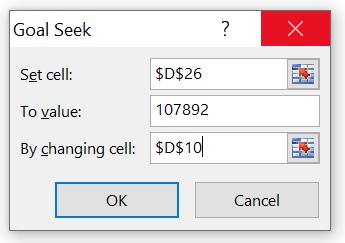 Goal Seek Dialogfeld in Excel
